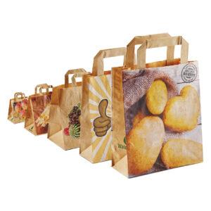Papiertragetaschen – Obst und Gemüse – mit Flachhenkel