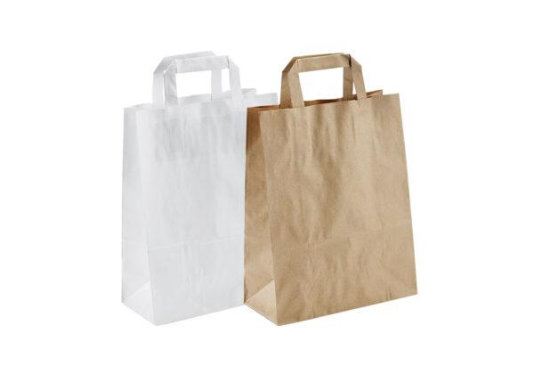 Papiertragetaschen – Kraftpapier – mit Flachhenkel