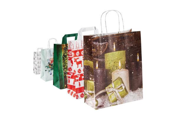 Papiertragetaschen – Weihnachten – mit Flachhenkel oder gedrehter Papierkordel